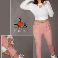 شلوار سوییت مخمل دمپا چاکدار زنانه - کد f124