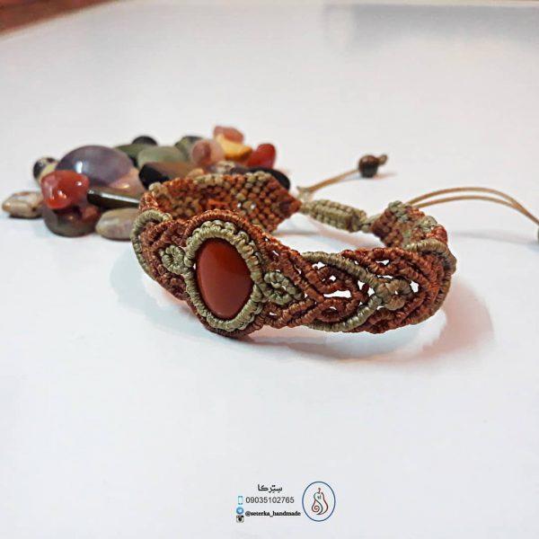 خريد دستبند مکرومه با سنگ جاسپر سرخ زنانه در فروشگاه اينترنتي پوشاکچي - مشاهده قيمت و مشخصات